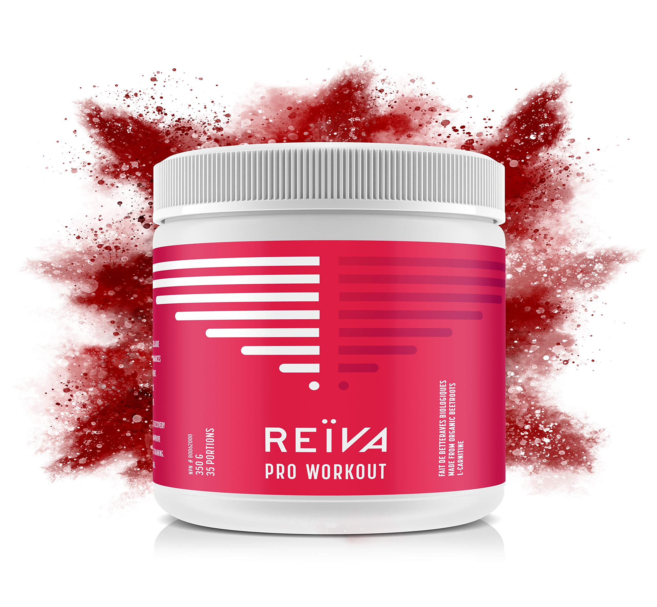 Reïva Organic Beetroot Pro Workout with L-Carnitine   Non-GMO, Gluten Free & Vegan   Nitric Oxide Pre-Workout Booster + Fat Burning  Improve Athletic Performance, Energy and Muscle Recovery   350g