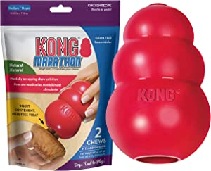 KONG Classic Durable Dog Toy and Marathon Chew Treat Combo (2 Pieces) - Chicken, Medium