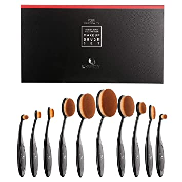 f5f744f609 Amazon.com: Makeup Brush Set, USpicy Professional 10 Pieces Oval Makeup  Brushes With Refined Gift Box, Soft Toothbrush Shaped Design For  Foundation, ...