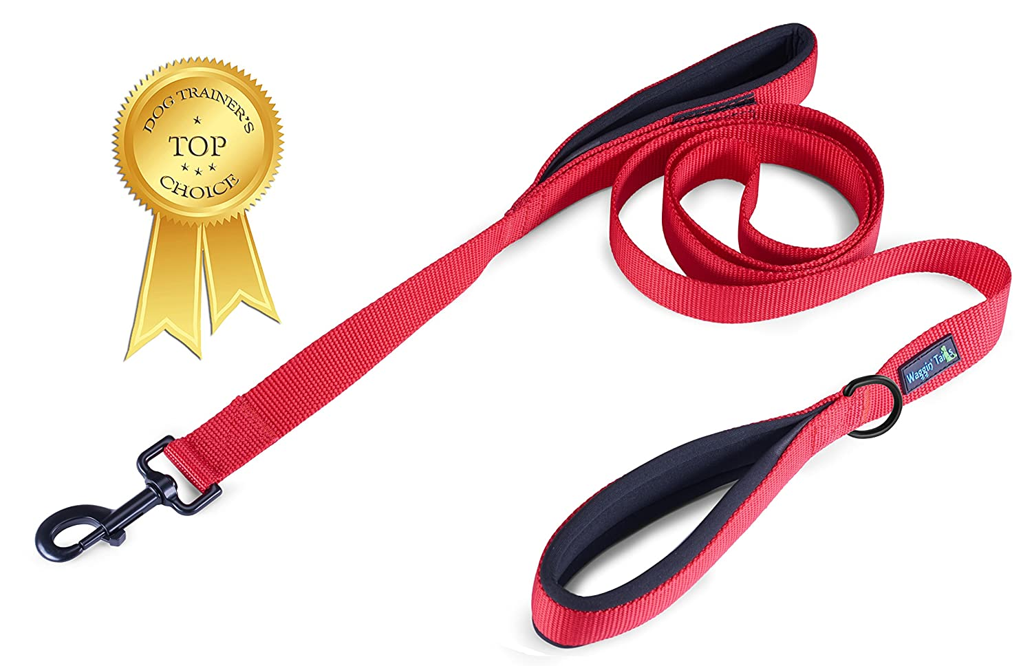Carnation Red Double Handle Dog Leash with Extra Thick Padded Handles, Premium Nylon Dual Handles for Ultimate Control6ft or 1ft length for Medium to Large or Extra-Large Dog EZ Walker by Waggin' Tails Co.