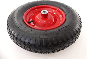 "Tech Team Tire and Wheel, 4.00-8 on Steel Wheel Hub, Dual Ball Bearings, Air Filled/Pneumatic Tube, 5/8"" Axle, Wheelbarrows, Garden Carts"