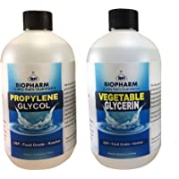 """Propylene Glycol and Vegetable Glycerin by Biopharm €"""" Pack of 2 PG and VG €"""" 500 ml Food-Grade Kosher Liquids €"""" Pure Vegetable Glycerin Kit for Fragrances and Cosmetics €"""" Dispensing Caps Included"""