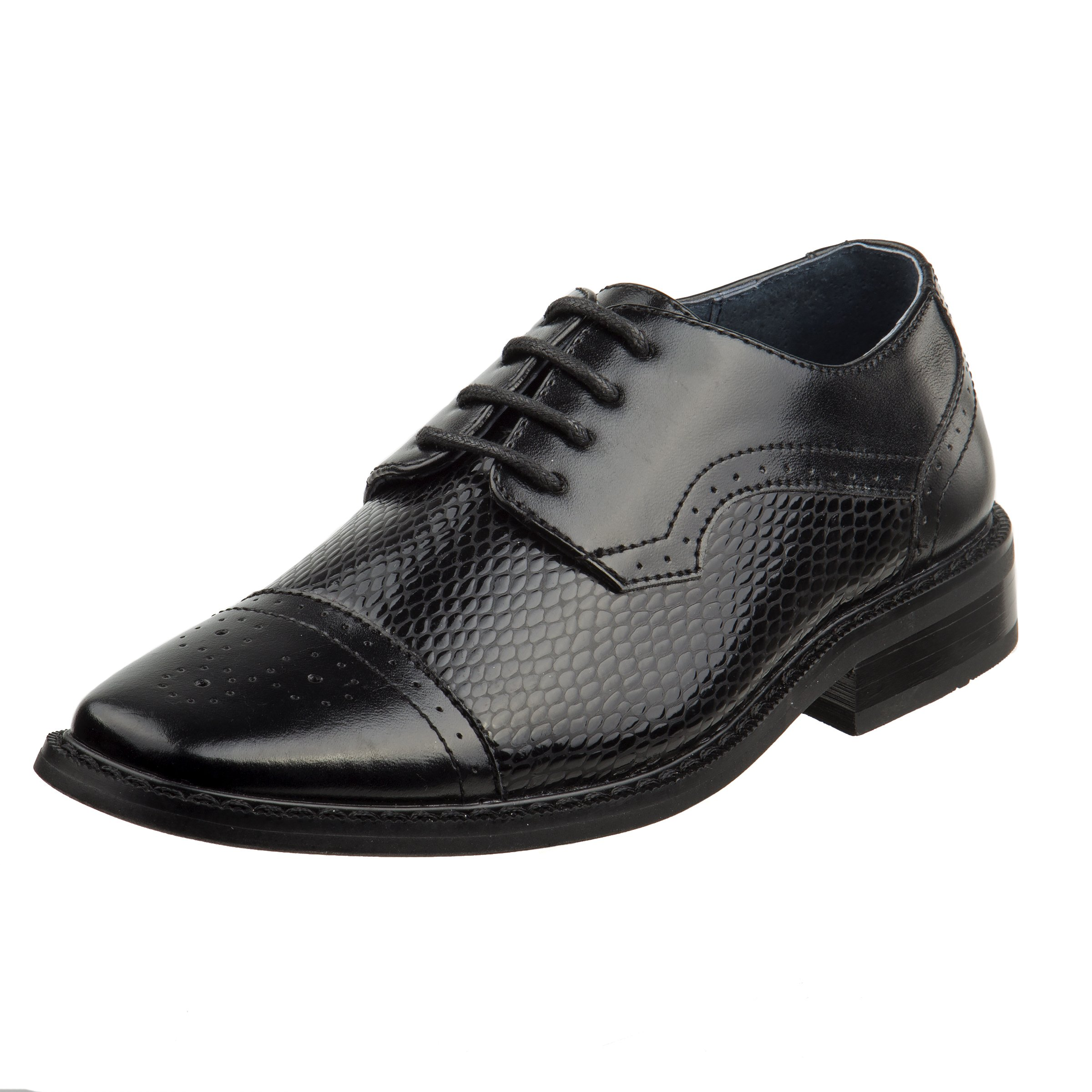 Joseph Allen Boys Wing Tip Perforated Oxford Dress Shoe (Toddler, Little Kid, Big Kid) (2 M US Little Kid, Black Woven)'