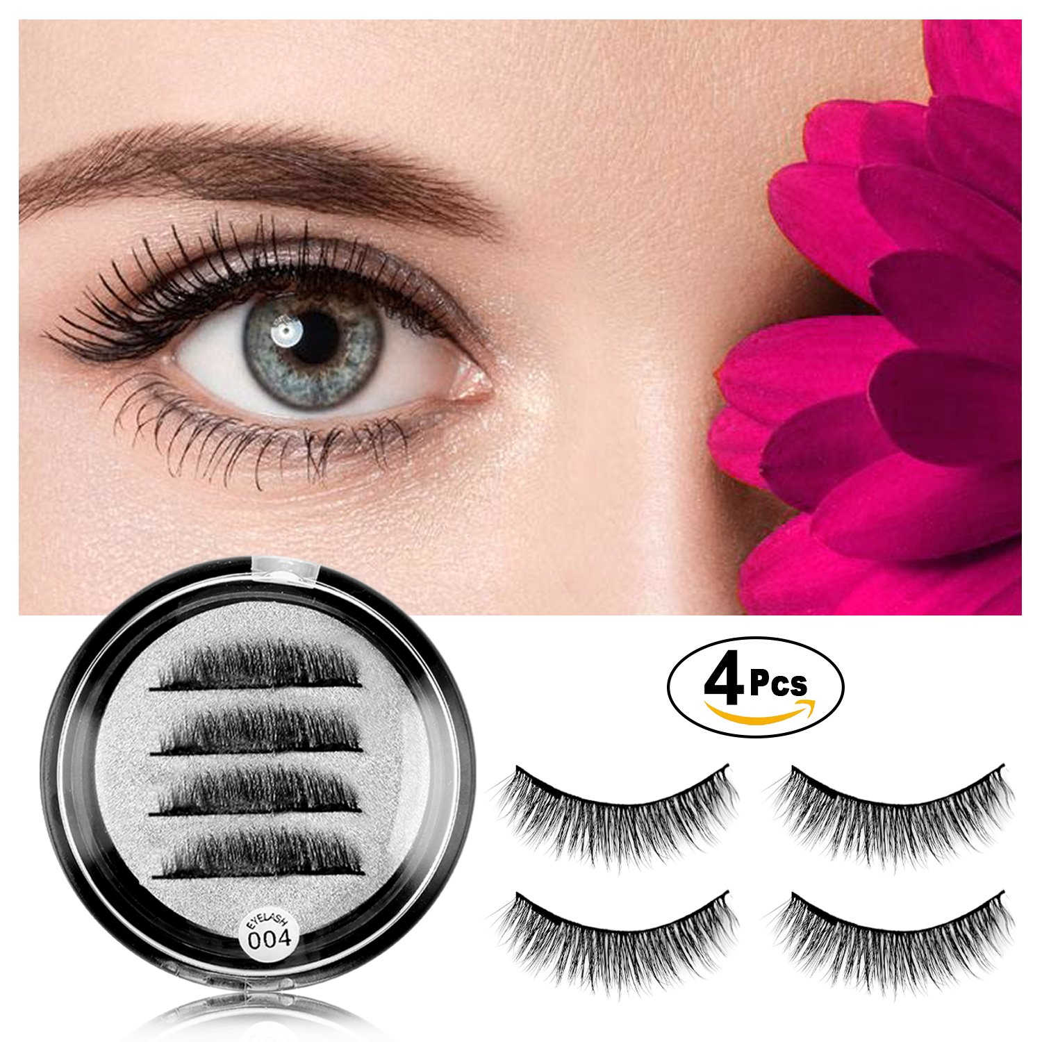 Magnetic Eyelashes No Glue - Dual Magnets Natural False Eyelashes - 3D Reusable Full Eye Fake Lashes Extensions - Thick Soft & Handmade Seconds to Apply 1 pair/4 pcs