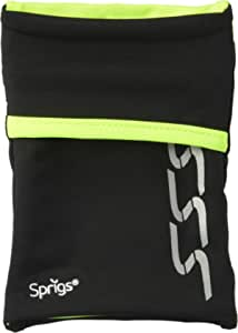 Sprigs Unisex Banjees 2 Pocket Wrist Wallet for Travel, Running, & Hiking, Black/Hiviz, One Size Fits Most