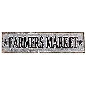 """Barnyard Designs Farmers Market Retro Vintage Tin Bar Sign Country Home Decor 15.75"""" x 4"""""""