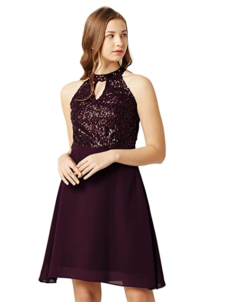 ddf16b289e Miss Chase Women s Wine Red Sequin Skater Dress  Amazon.in  Clothing ...