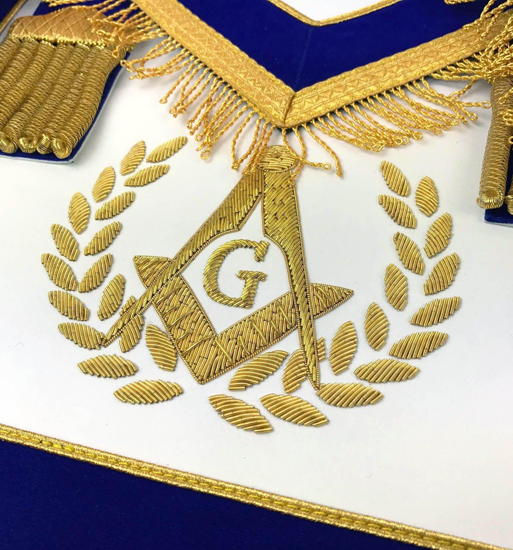 Without Fringe Unique Regalia Masonic Master Mason Apron Set Apron,Collar gauntlets Handmade Embroidery Blue