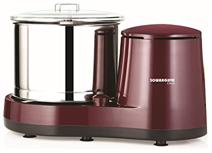 Sowbaghya 2 Lit Diva Wet Grinder (Maroon) with Attachment