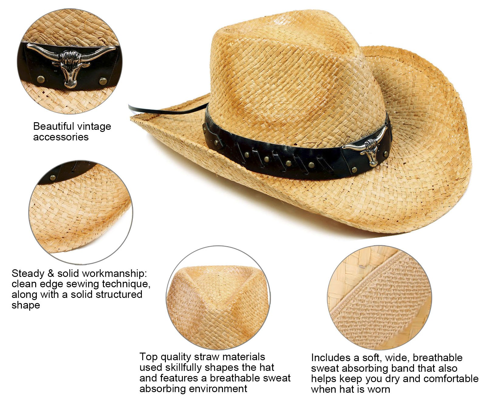 YoungLove Men and Women Costume Straw Cowboy Hat with Decor,Nature_Bull by YoungLove (Image #4)