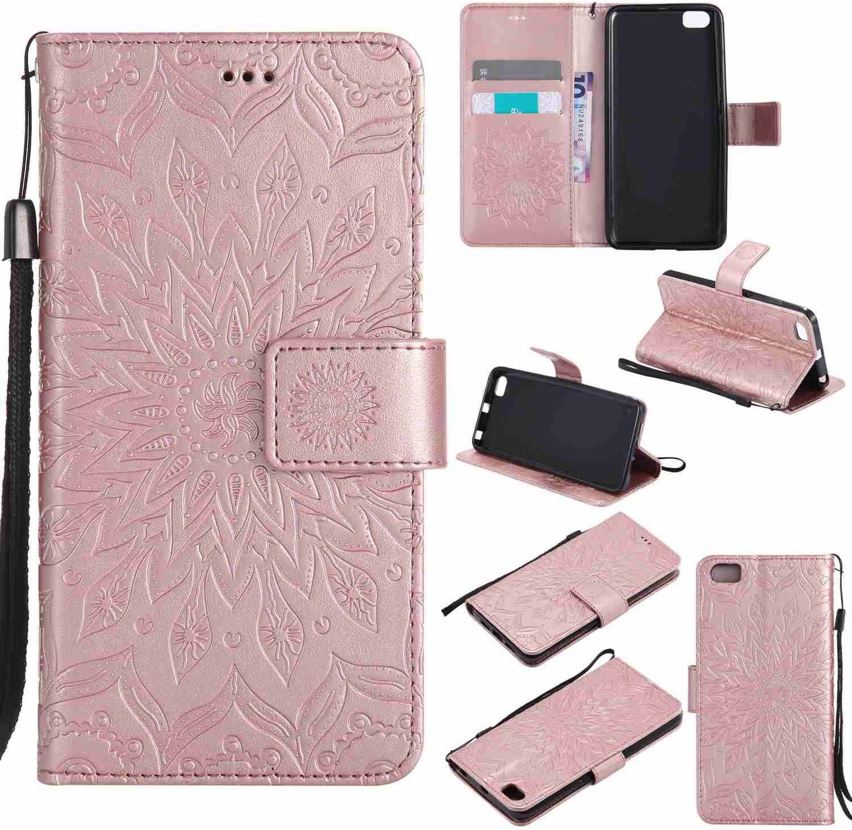 Guran® Funda de Cuero Para Xiaomi Mi5 Smartphone Función de Soporte con Ranura para Tarjetas Flip Case Cover-oro rosa