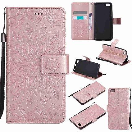 pinlu® Flip Funda de Cuero para Xiaomi Mi5 Carcasa con Función de Stent y Ranuras con Patrón de Girasol Cover (Oro Rosa)