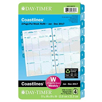 Amazon.com : Day-Timer Weekly Planner Refill 2017, 2 Page Per Week ...