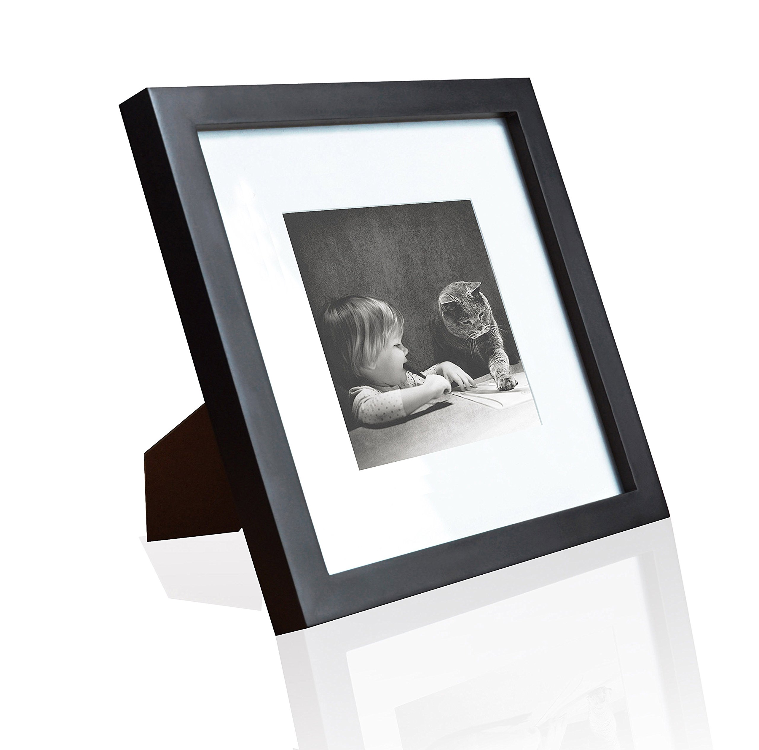 Ray & Chow 8x8 Square Black Picture Frame - Solid Wood - Glass Window - with Picture Mat for 4x4 Photo - Frame Width 2cm