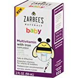 Zarbee's Naturals Baby Multivitamin with Iron, Natural Grape Flavor, Contains vitamins A, C, D for Babies Ages 2 Months and Up, 2 Ounce Bottle