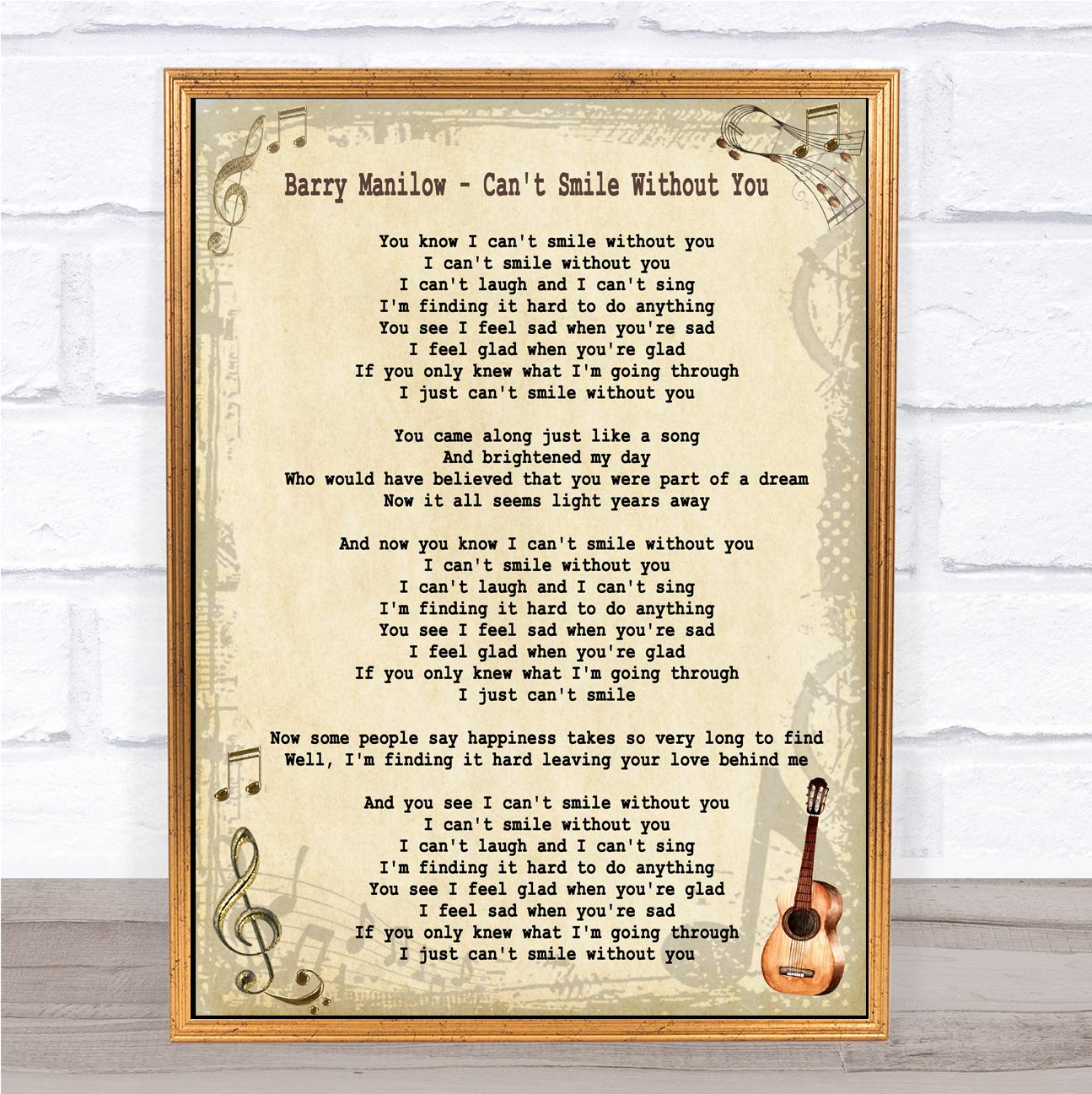Amazon com : Can't Smile Without You Song Lyric Quote Print : Office