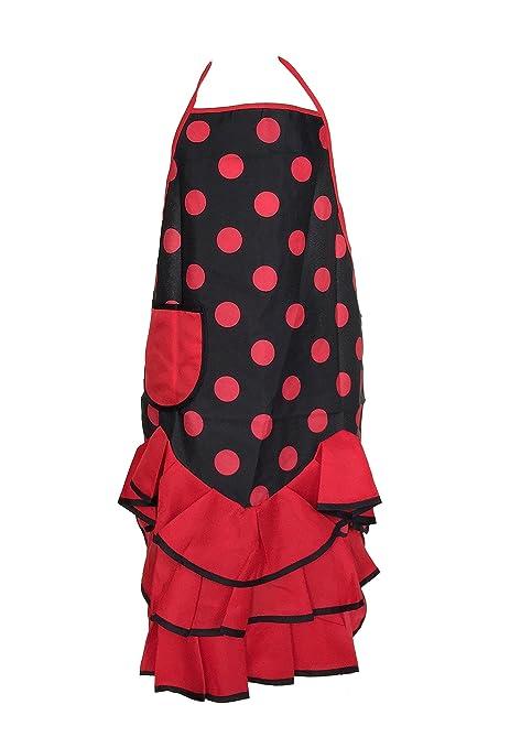 efcf386d31f8 La Senorita Spanish Flamenco Apron for women Black Red Polkadots: Amazon.co. uk: Kitchen & Home