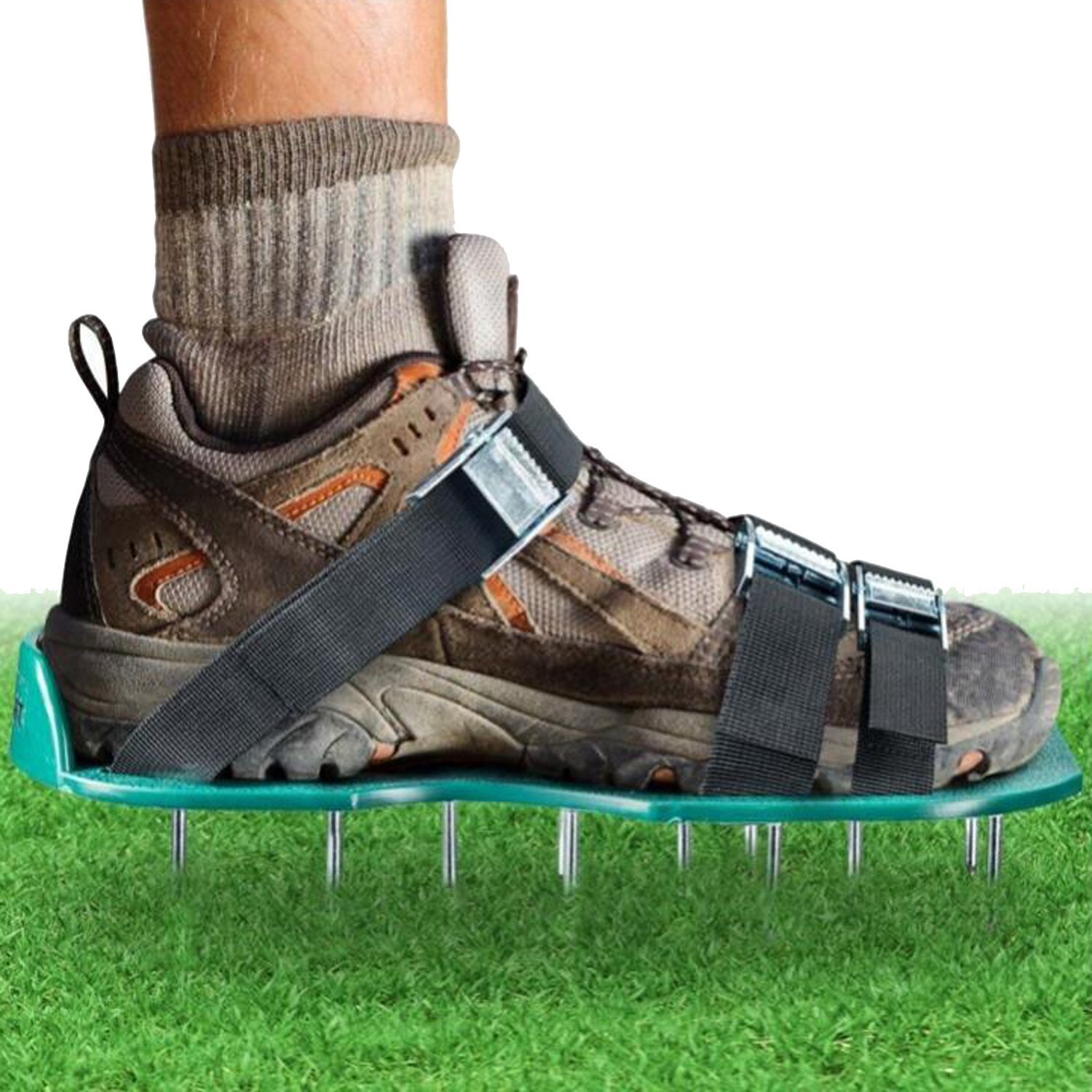ODIER Lawn Aerator Shoes Cleats Aerating Lawn Soil Sandals 3 Adjustable Straps Heavy Duty Spiked Sandals for Aerating Your Lawn or Yard (Model-A)