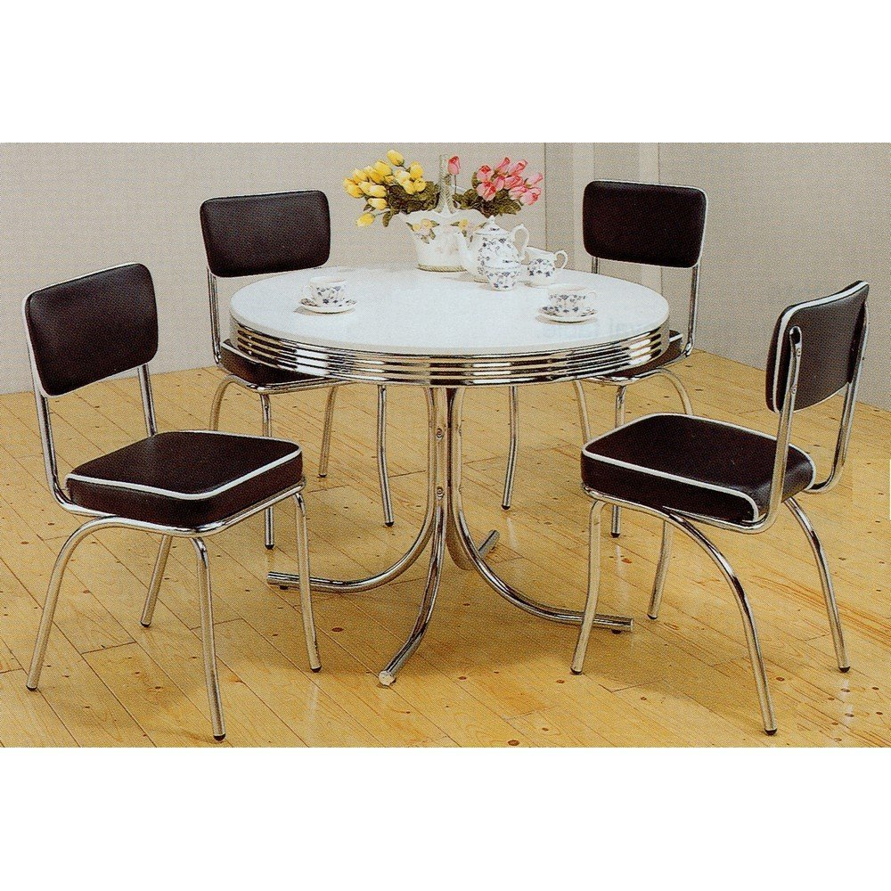 Amazon.com   5pc White U0026 Chrome Retro Round Table U0026 Black Chairs Set   Table  U0026 Chair Sets