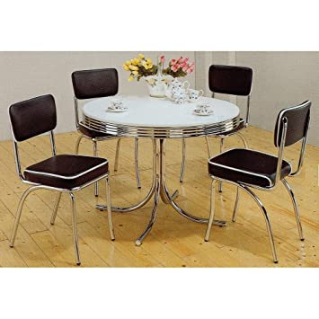 Wonderful Coaster 5 Piece Cleveland Round 50u0027s Retro Style Dining Room Set