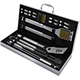Home-Complete HC-1000 BBQ Accessories – 16PC Grill Set with Spatula, Tongs, Skewers, Case – Barbecue Tools for Father's Day,