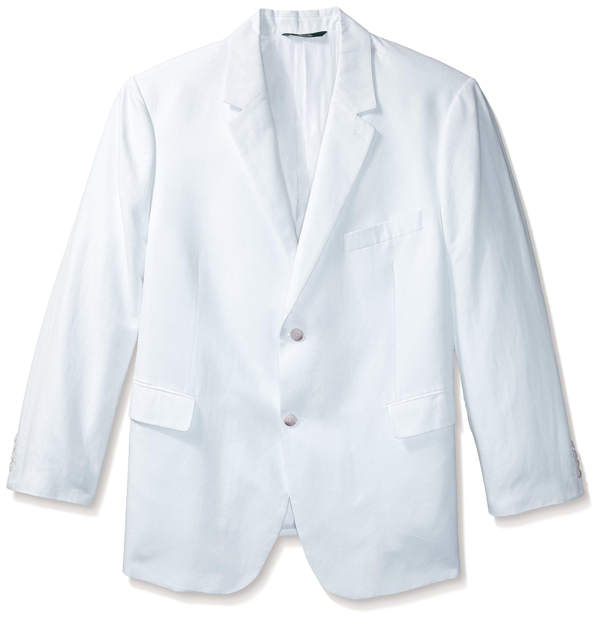 Perry Ellis Men's Big-Tall Linen Suit Jacket, Bright White, 50