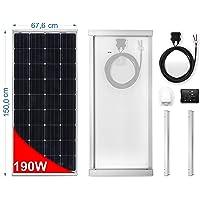 Panel Solar 190W monocristallino para Camper. Kit completo de accesorios para el montaje y de regulador 20 A