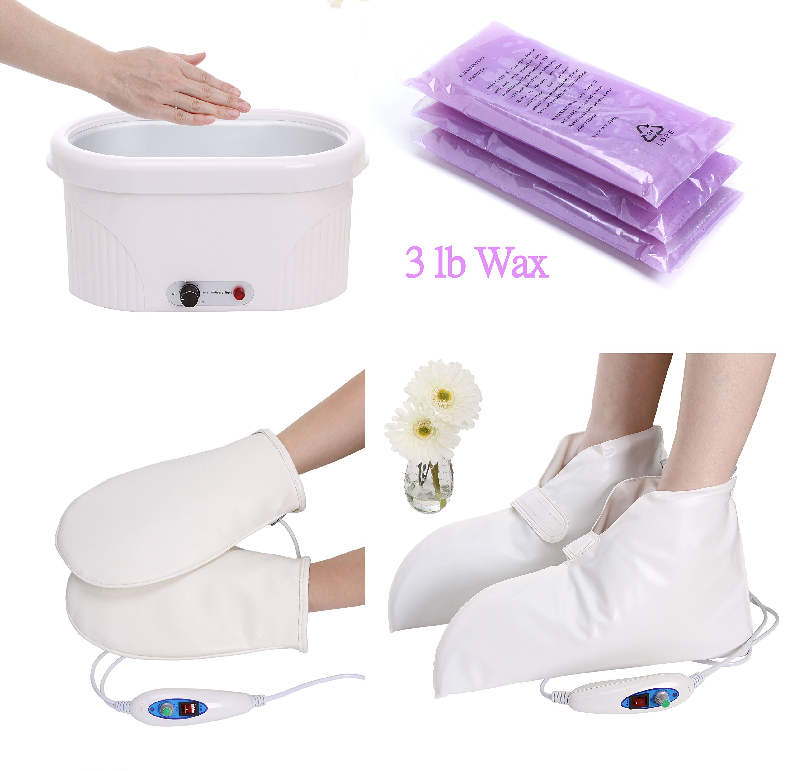 Wax Pedicure and Manicure Machine for Feet and Hands, with Heated Electrical Booties and Gloves for Continuous Hydrating Heat Therapy TLC-5009GW