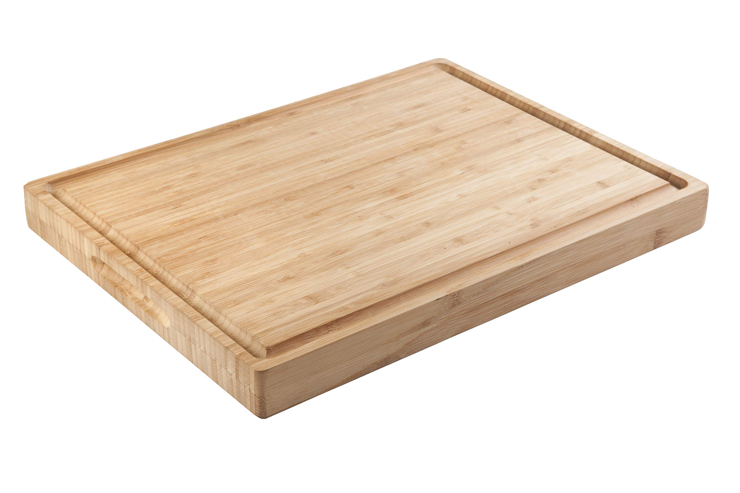 SoulFino Bamboo Butcher Block - Cutting Board, Reversible with Juice Groove and Handles - Maximum Health Benefits and Low Maintenance - Less Bacteria Bamboo Means a Healthier Family