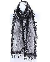AN Fashion Leafy Lace Scarf Womens With Tassels