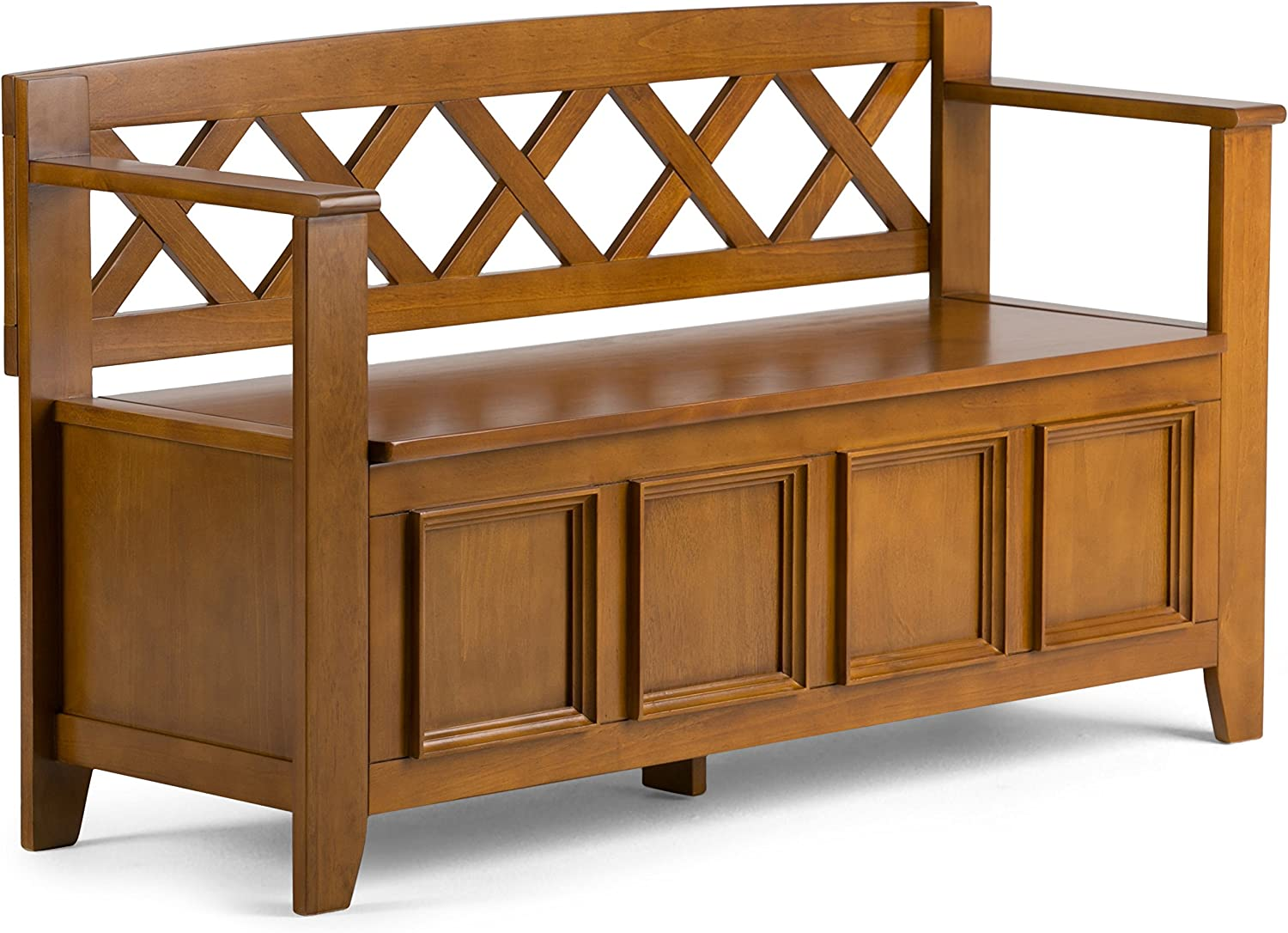 Simpli Home AXCAB-BNCH-ALB Amherst Solid Wood 48 inch wide Transitional Entryway Storage Bench in Light Avalon Brown