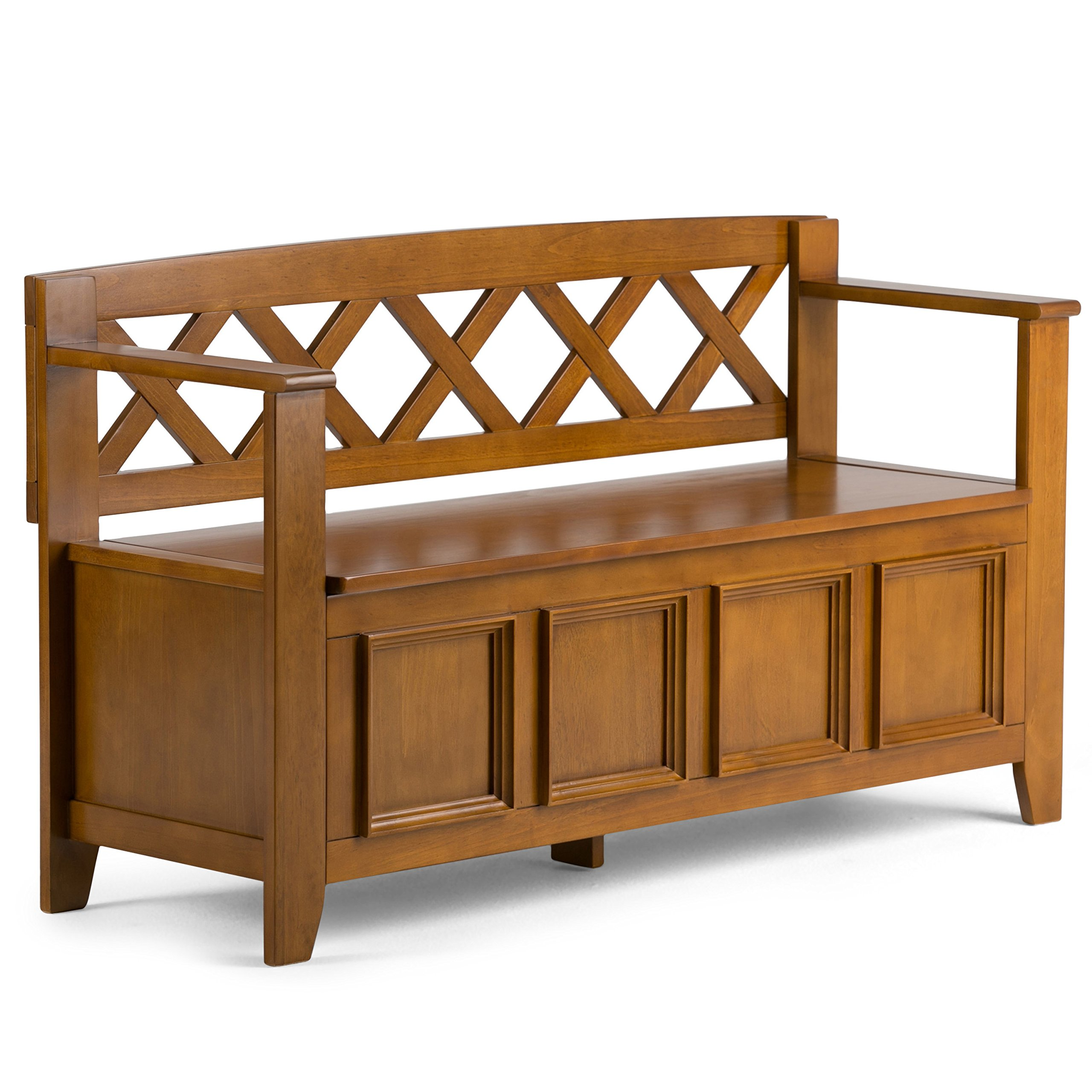 Simpli Home Amherst Solid Wood Entryway Storage Bench, Light Avalon Solid Wood Brown
