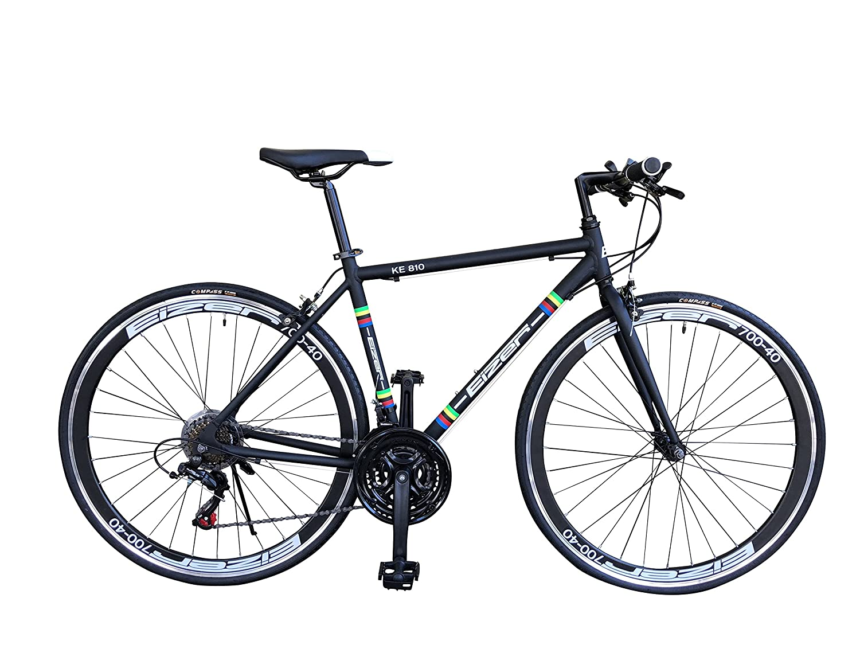 Eizer(アイゼル) 【クロスバイク】軽量アルミ700Cフレームに定番のシマノ21速 700Cエアロホイール装着、40mmディープリムのレーシーデザイン&カラーリングKE810ブラック KE810 ブラック 700C B07D7FS3ZN