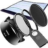 LUMOS CONNECTION CREATIVE Zubehör Set voll kompatibel mit Nikon D7200 D7500 D5300 D3300 und Kit Objektiv VR Nikon DX AF-S NIKKOR 18-105 mm oder NIKKOR 18-140 VR / Fernauslöser ML-L3 & Gegenlichtblende HB-32 & 67-mm UV-Filter & Polfilter CPL & Graufilter ND-16 & Filter-Etui