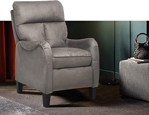 Modern Accent Chair Massage Accent Recliner Microfiber Reclining Chair Classic Style Accent Armchair Push Back Single Sofa for Living Room Grey