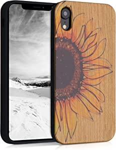 kwmobile Wood Case Compatible with Apple iPhone XR - Phone Case with TPU Bumper - Wood Sunflower Yellow/Dark Brown/Light Brown