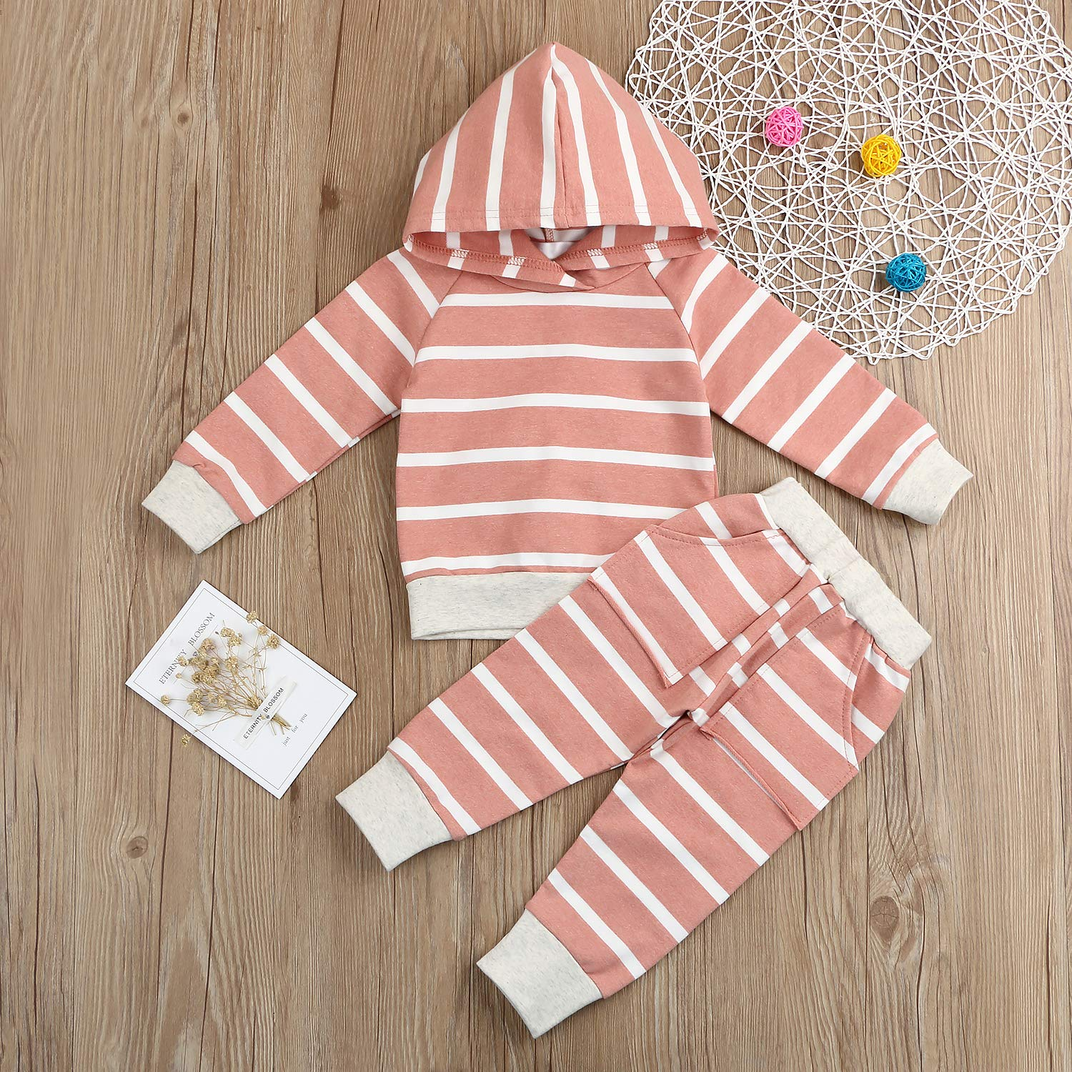 b3746deca Amazon.com: Baby Girls Boys Winter Clothes Set Long Sleeve Striped Hoodie  Sweatshirt Pants Outfit Sets for Newborn Infant Toddler Babies: Clothing