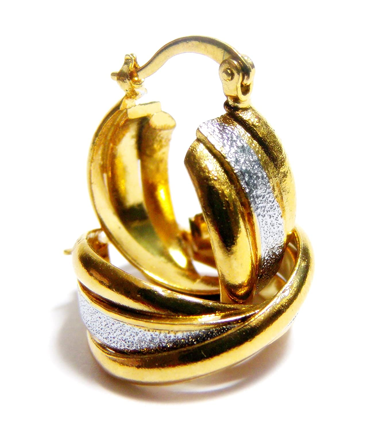 0.82 Inch Two Tone Silver Brushed Satin Glitter /& Shiny Yellow Gold Tone Stainless Steel Twisted Huggie Hoop Earrings