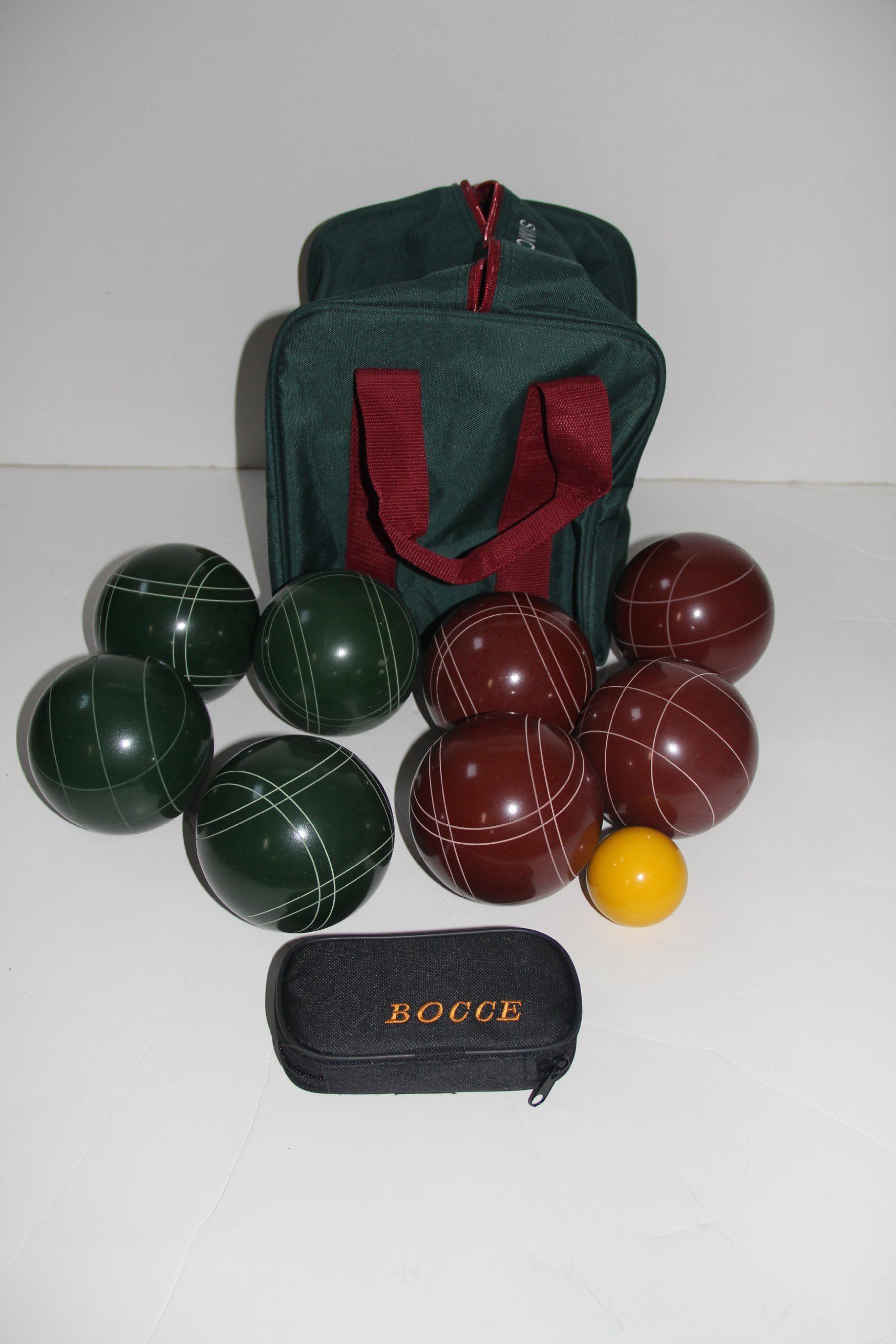 Bocce package - EPCO 107mm red and green bocce set and 33mm metal Petanque set by BuyBocceBalls