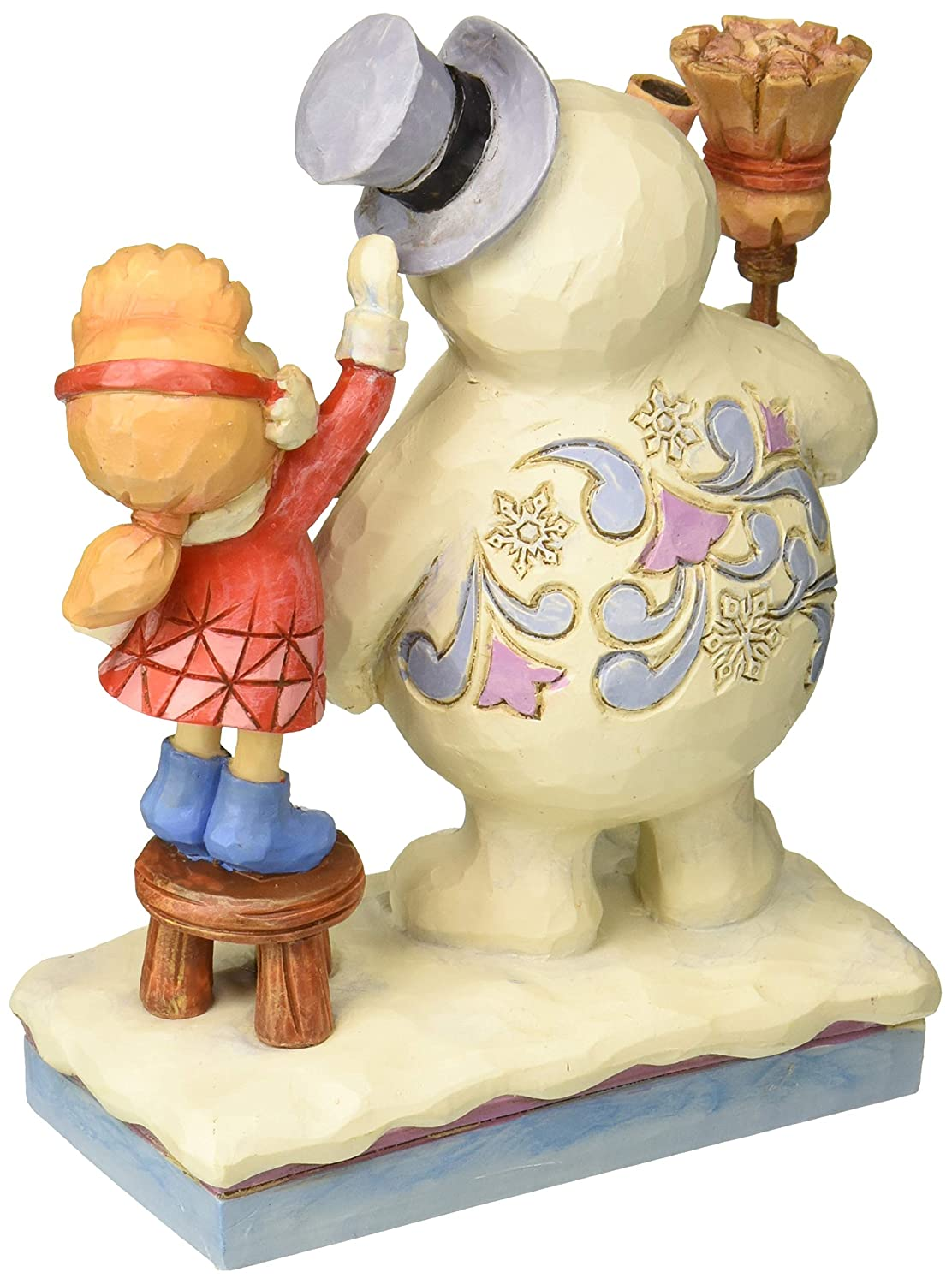 Department56 Enesco Snowman by Jim Shore Karen Putting Hat on Frosty, Multicolor