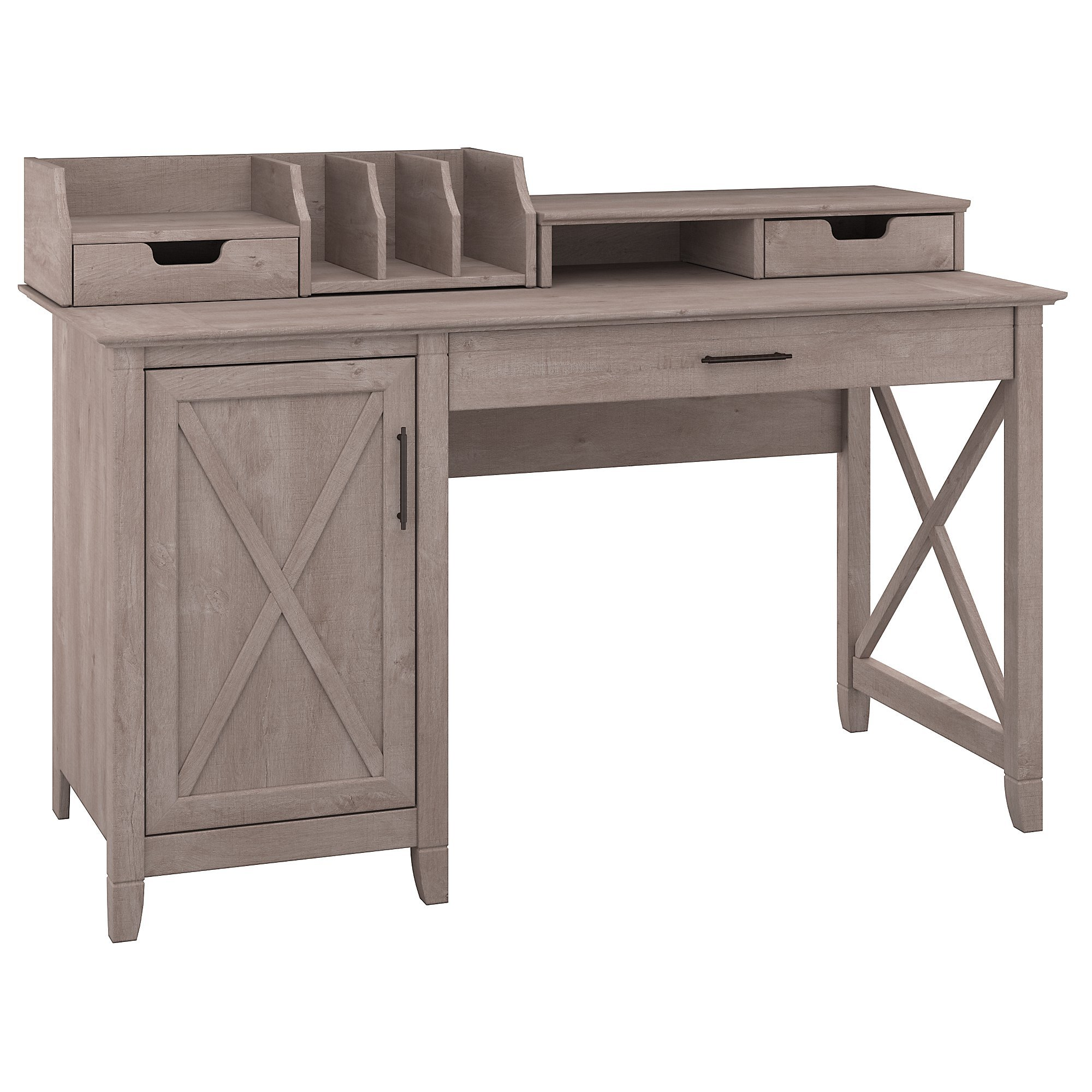 Bush Furniture Key West 54W Computer Desk with Storage and Desktop Organizers in Washed Gray by Bush Furniture (Image #2)