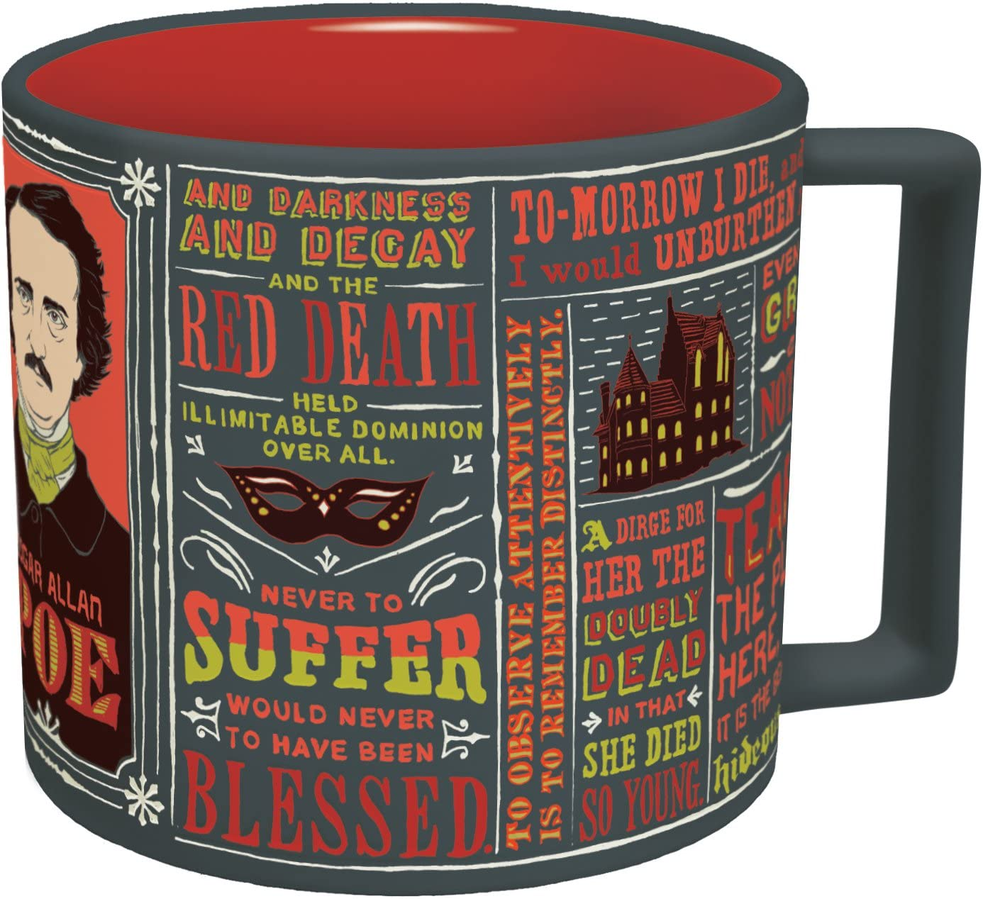 Edgar Allan Poe Coffee Mug - Poe's Most Famous Quotes and Writings - Comes in a Fun Gift Box