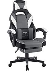 TOPSKY High Back Racing Style Executive Computer Gaming Office Chair Ergonomic Reclining Design with Lumbar Cushion Footrest and Headrest (gray)