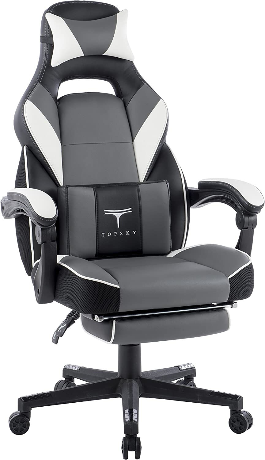 TOPSKY High Back Racing Style PU Leather Executive Computer Gaming Office Chair Ergonomic Reclining Design with Lumbar Cushion Footrest and Headrest (New Black&Gray) …