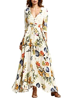 Womens Dress Button up Split Maxi Boho Bohemian Floral Print Beach Long Vestido