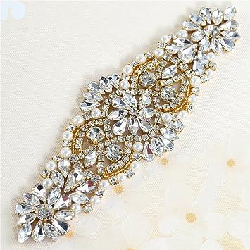 Cristales y Rhinestone de Hierro-en Applique con las Perlas para la boda  Correas Nupciales Headpieces Ligas  Amazon.es  Hogar ceea4c8c6d68