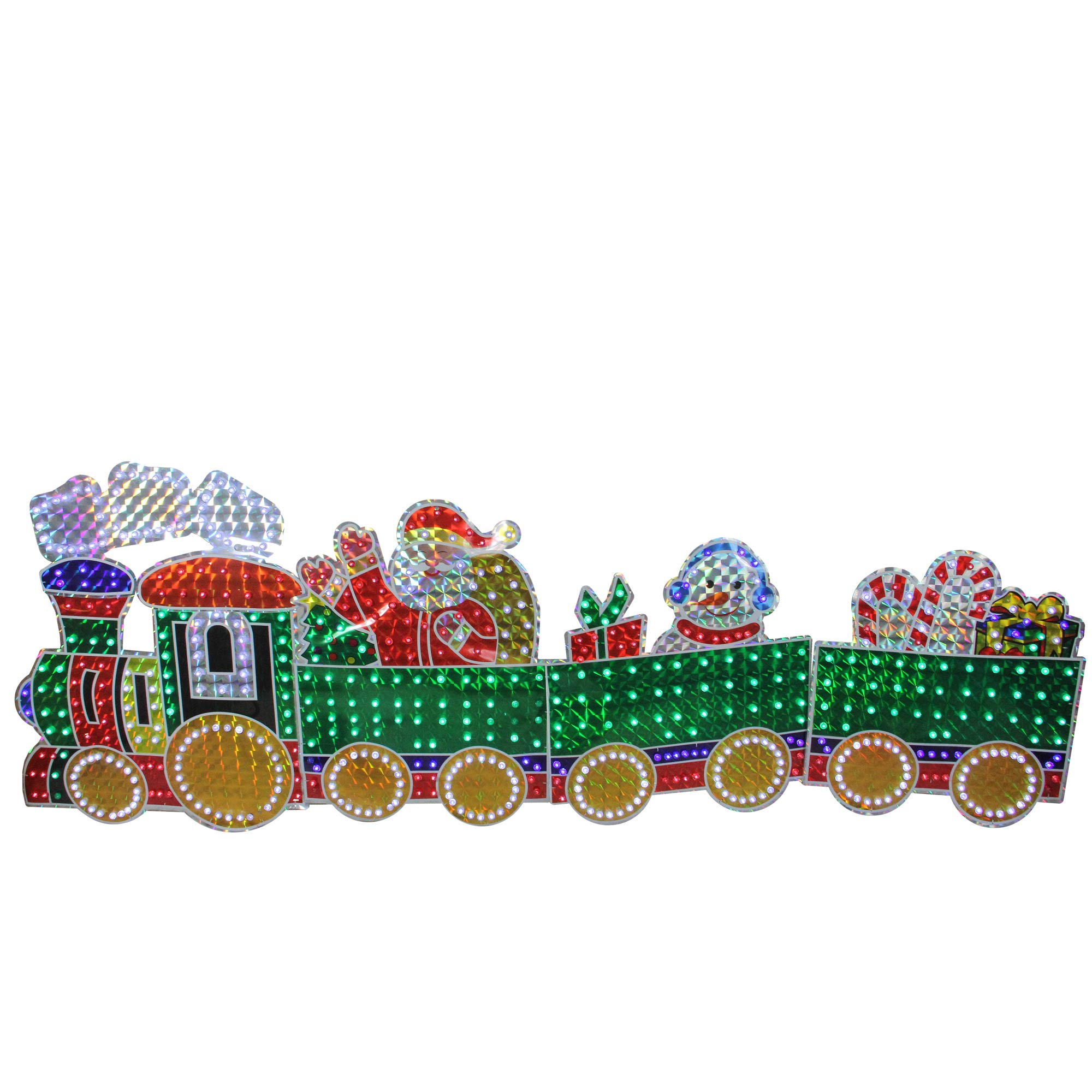 Northlight 4-Piece Holographic LED Lighted Motion Train Set Outdoor Christmas Decoration