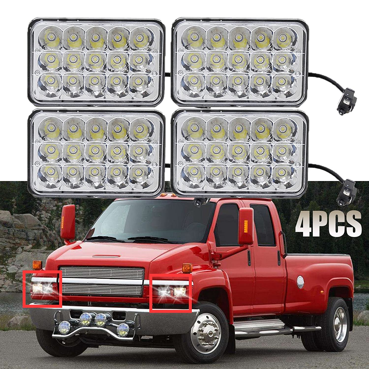 Led Headlights 4x6 Sealed Beam Housing Bulb For C5500 Brake Light Pigtail Wiring Diagram Chevrolet Kodiak C4500 And 2003 2009 Models H4656 H4 Conversion High Low Dual
