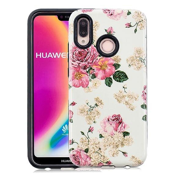 online retailer 6988d df815 Artfeel Cover per Huawei P20 Lite,Ultra Sottile 2 in 1 Doppio Strato Ibrido  Rigida PC+ Morbida Gomma TPU Paraurti Custodia,Colorato [Rosa Fiore] ...