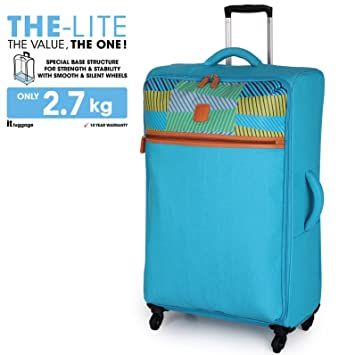 "7133554cc IT Luggage The Lite Blue Aztec Large 79.5cm/29"" 4 Wheel Ultra  Lightweight"